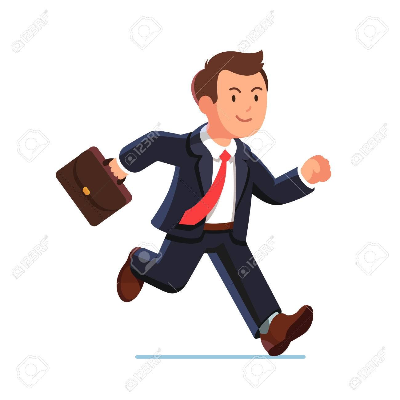 Business man in suit and red tie running fast holding briefcase.