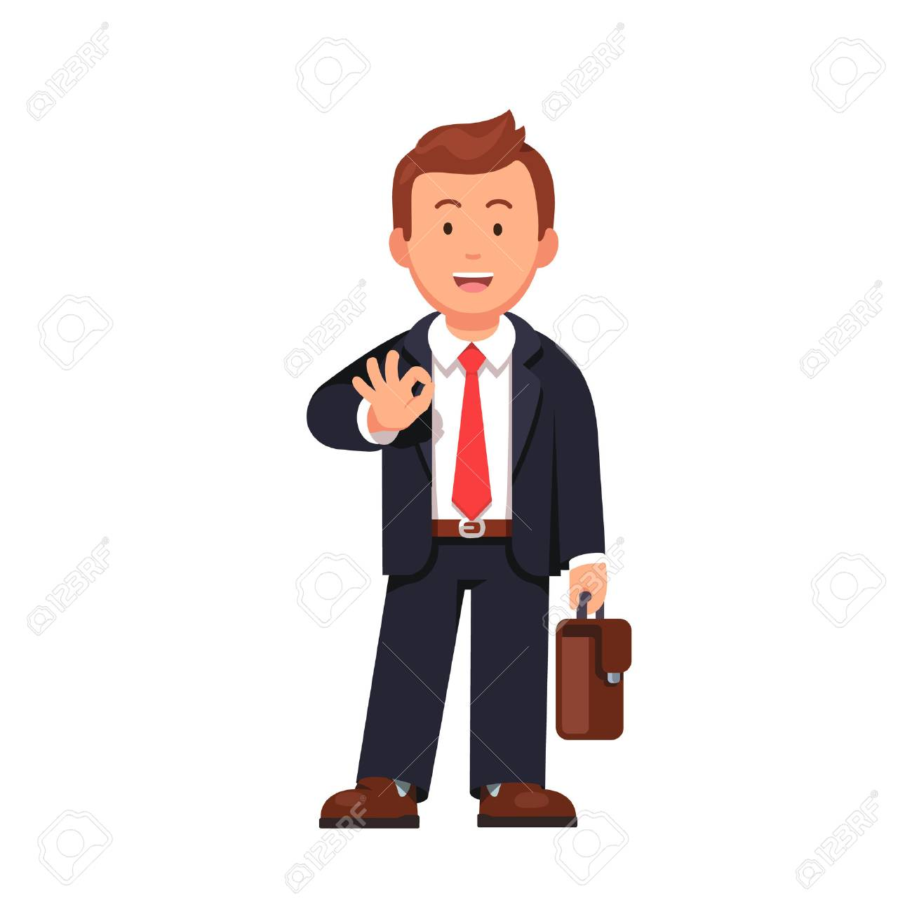 Standing business man with a briefcase showing OK gesture with...