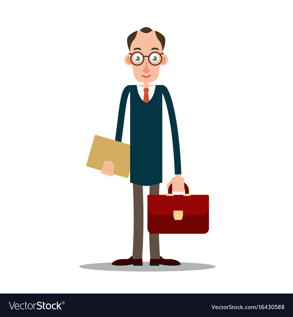 Teacher man in glasses with briefcase.