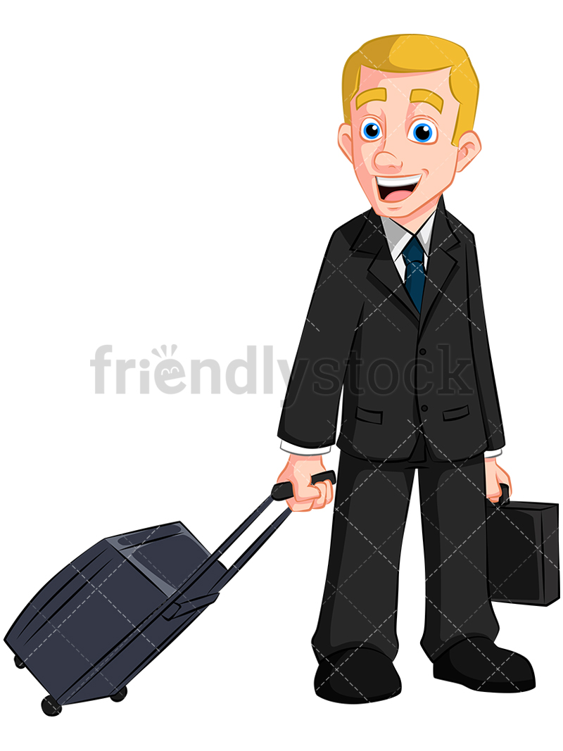A Man With A Rolling Travel Bag And Briefcase.