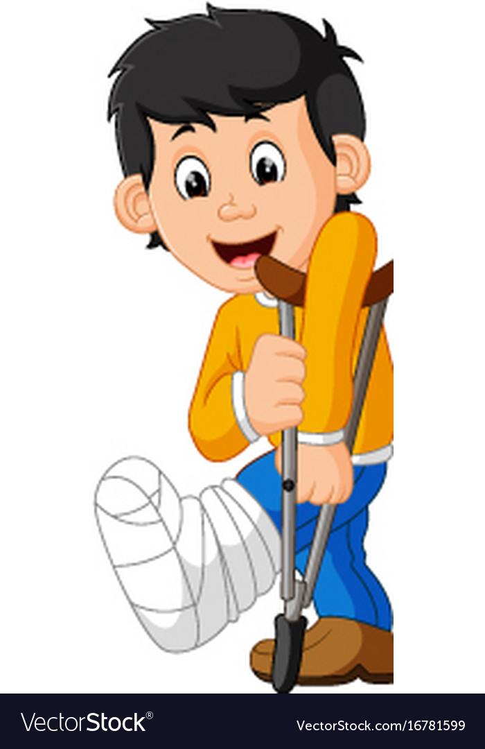 Little man with broken leg.
