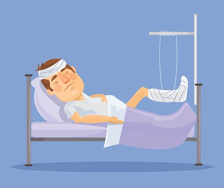 Man with broken leg. Vector flat illustration Clipart Image.