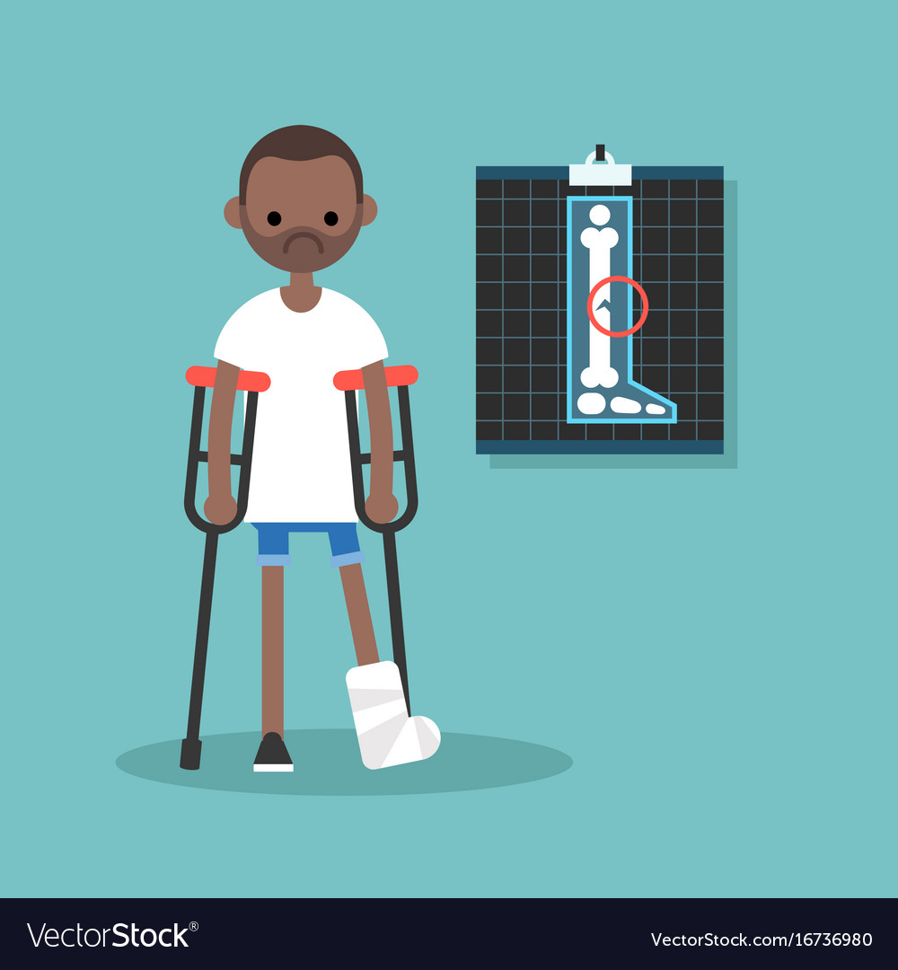 Disabled black man on crutches with broken leg.