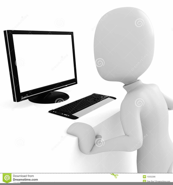 Clipart Man Working At Computer.
