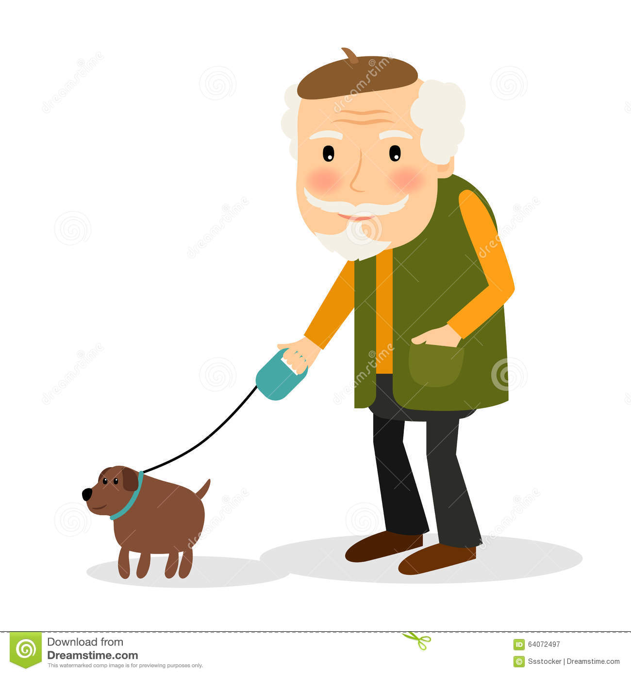 Old man and dog clipart.
