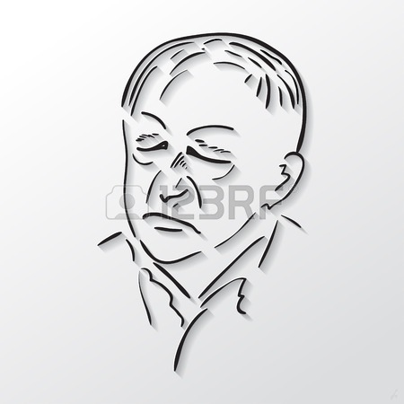 Vector Drawing Faces Old Men With Eyes Closed, Black And White.