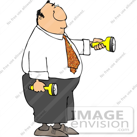 Man With Flashlight Clipart.