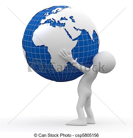 Stock Illustration of Man holding Earth with his hands csp5805156.