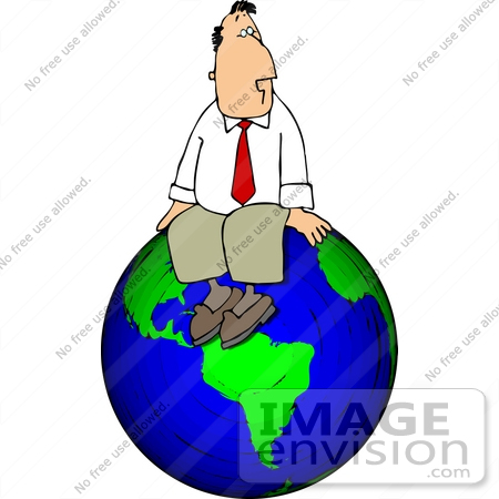 Successful Business Man Sitting on Top of The World Clipart.