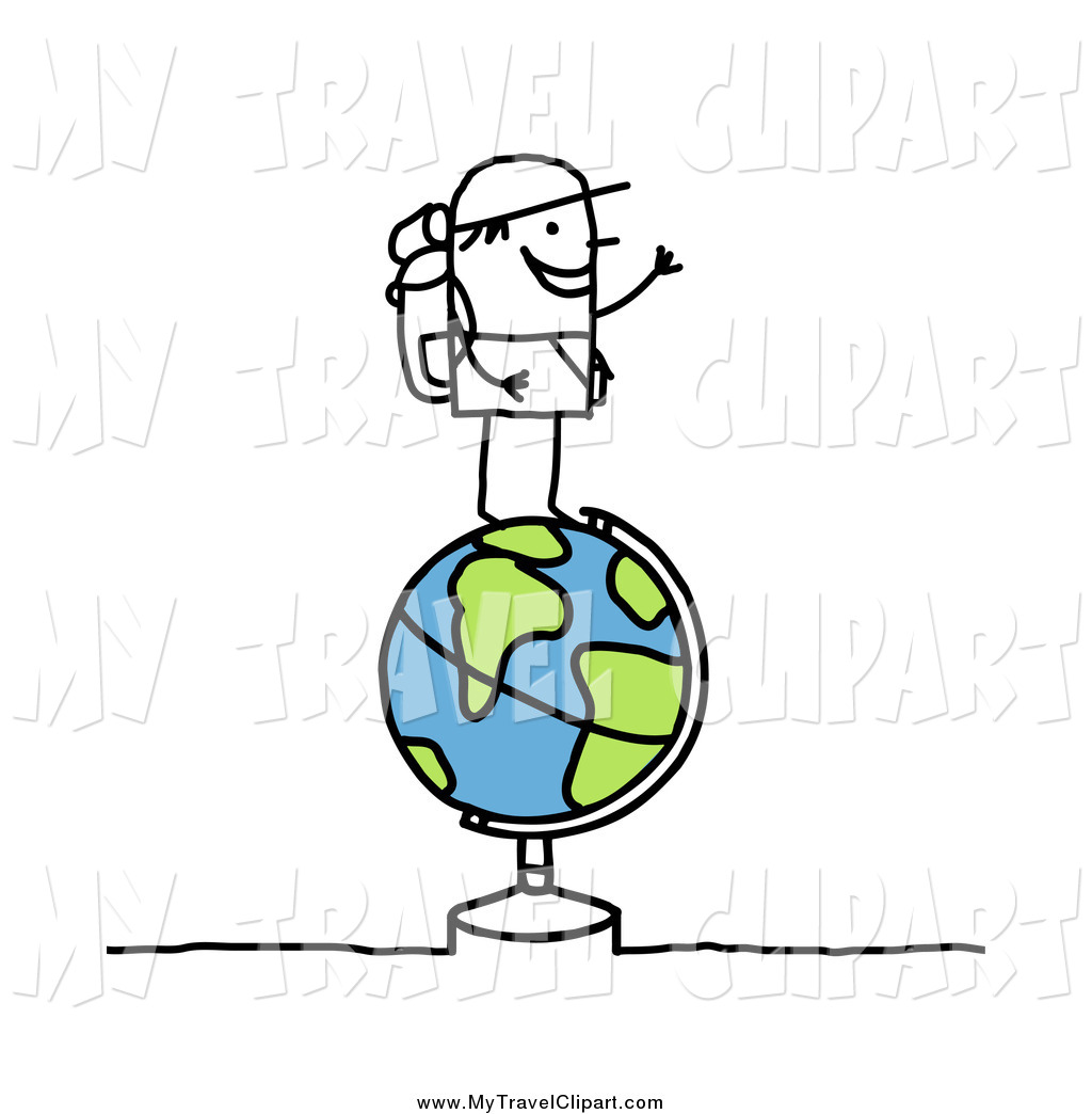 Clipart of a Trekking Stick Man on a Globe by NL shop.