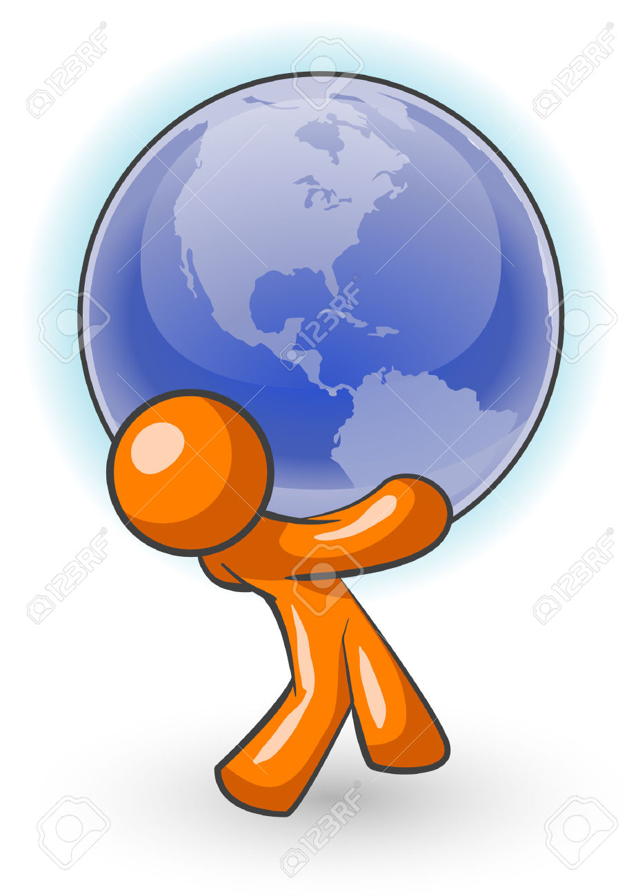 An Orange Man Carrying A Large Globe, Holding The Weight Of The.
