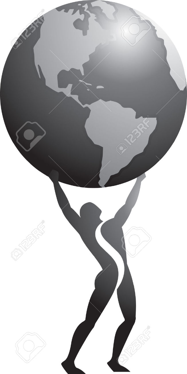 Atlas man holding globe clipart.