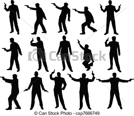 EPS Vectors of man with a gun silhouettes csp7666749.