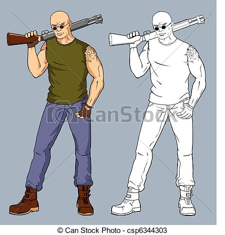 Vector Clipart of man with a gun csp3146320.
