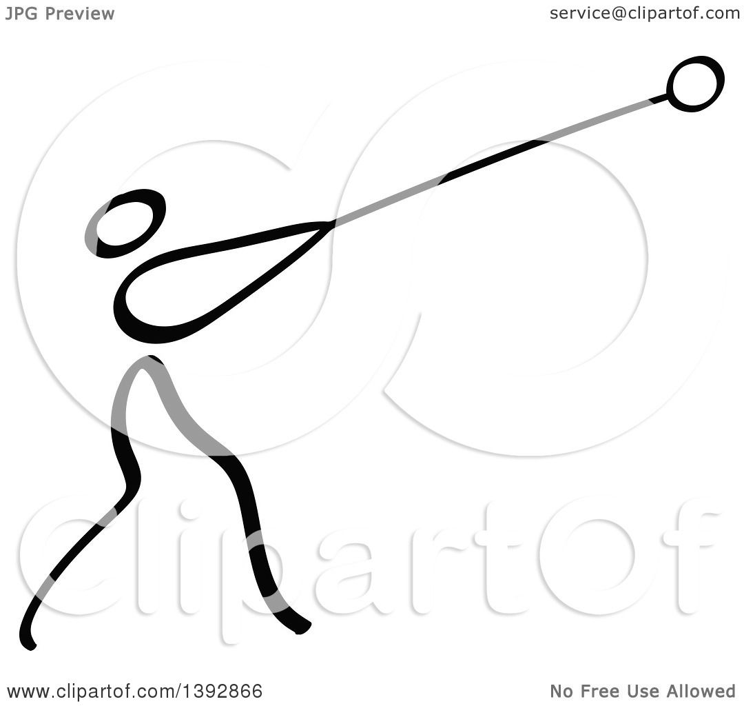 Clipart of a Black and White Track and Field Stick Man Athlete.