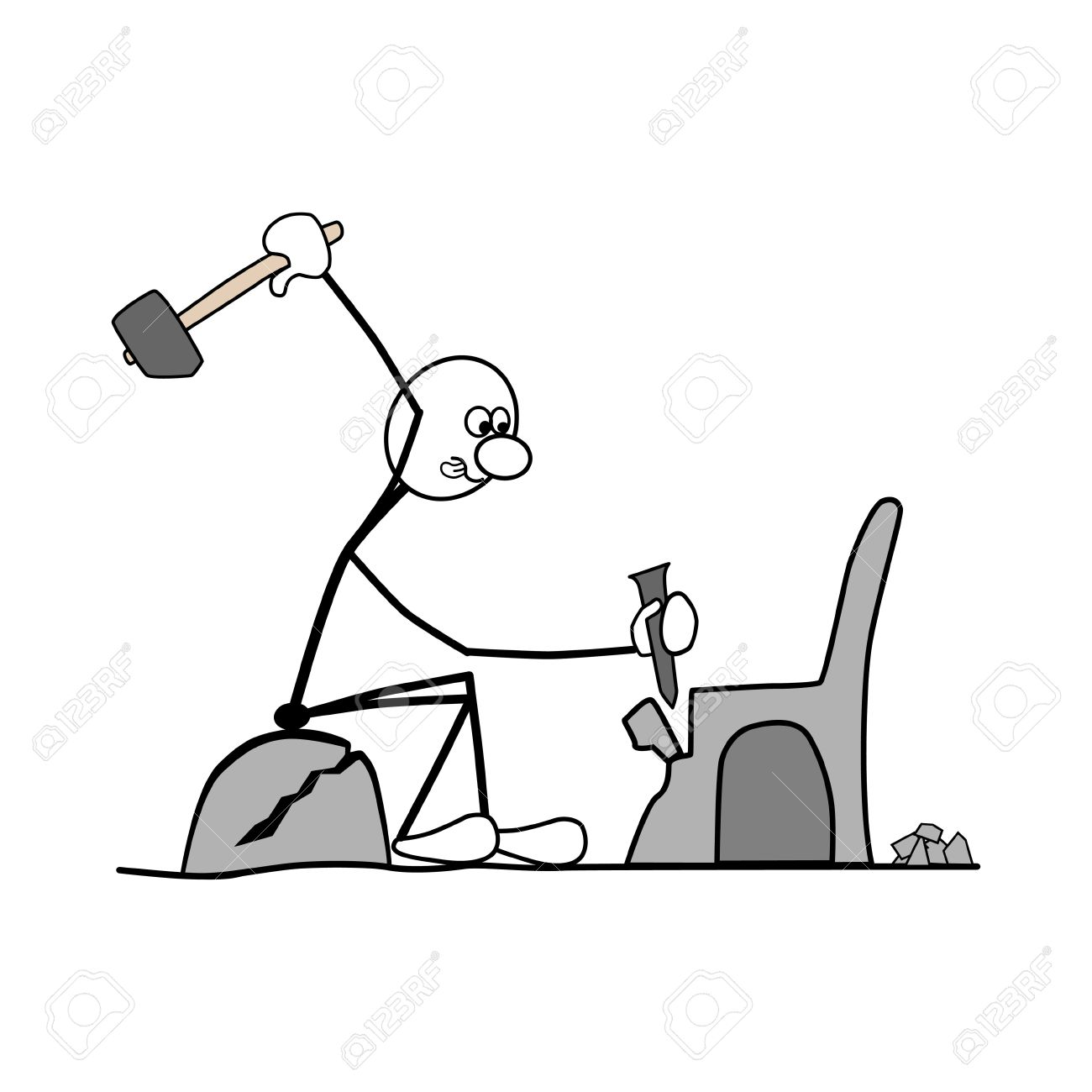 Showing post & media for Working man with hammer cartoon.