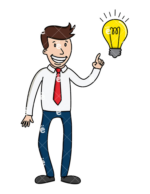 A Businessman Pointing To A Light Bulb As If He Has An Idea.