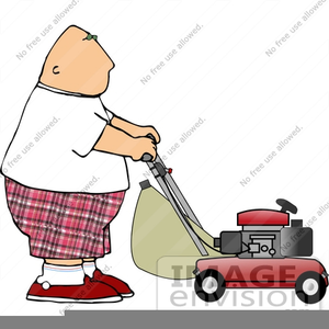 Man Pushing Lawn Mower Clipart.