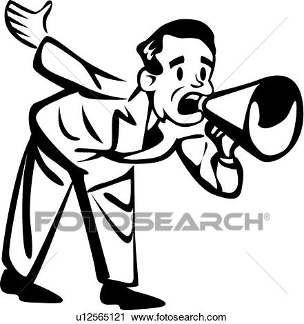 Man with a megaphone Clipart.