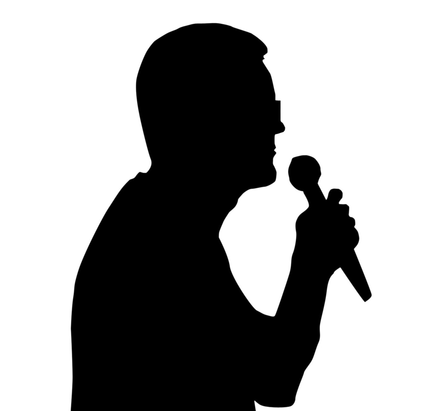 Silhouette Man With Microphone.