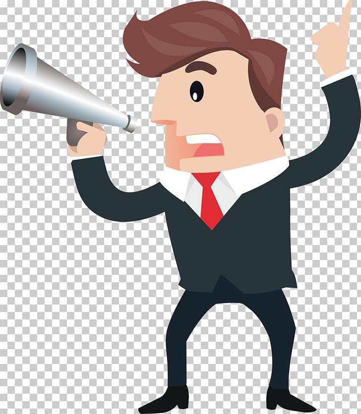 Cartoon Microphone, Business man with a horn speech, man.