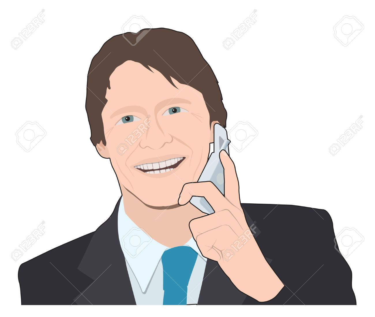 Business Man On Mobile Phone Royalty Free Cliparts, Vectors, And.