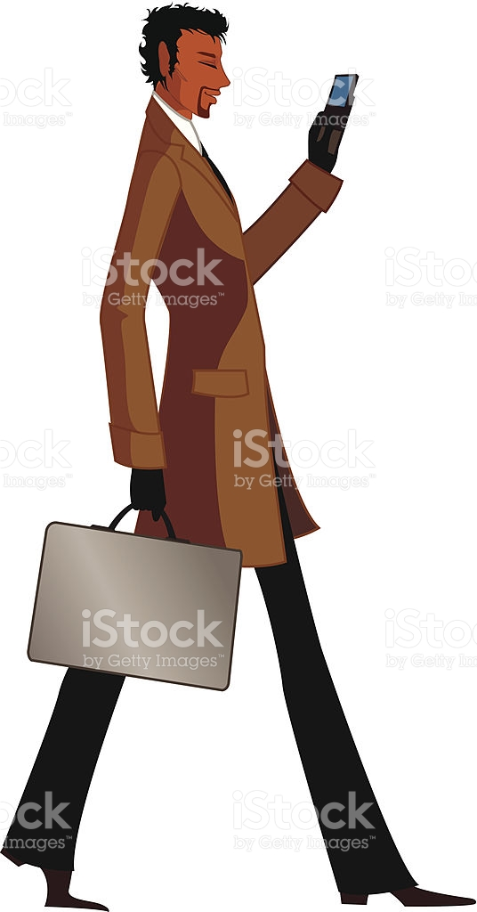 Side View Of Man Holding Mobile Phone stock vector art 163160074.
