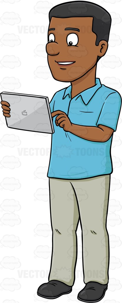 A Happy Black Man Using A Mobile Tablet.