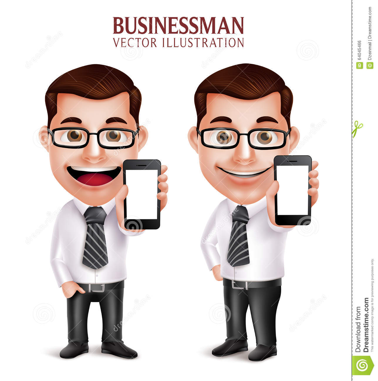 Professional Business Man Vector Character Holding Mobile Phone.