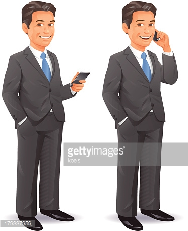 Businessman With Cell Phone Vector Art.