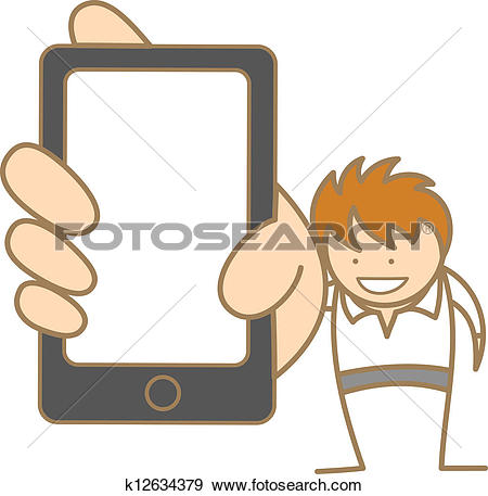 Clip Art of cartoon character of man showing message on cell phone.