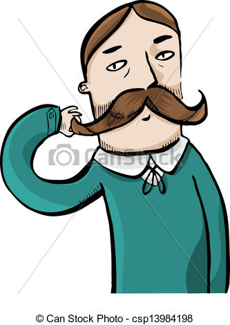 Man with Mustache Clip Art.