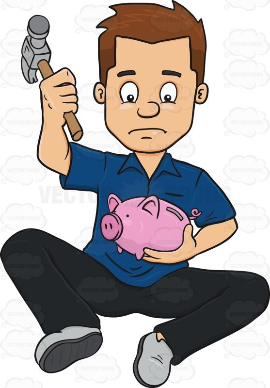 Frowning Man About To Smash A Coin Bank With Hammer.