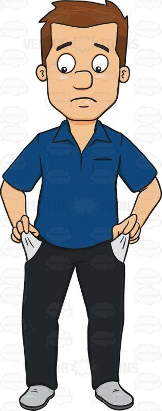 Sad Man With No Money In Pocket Cartoon Clipart.