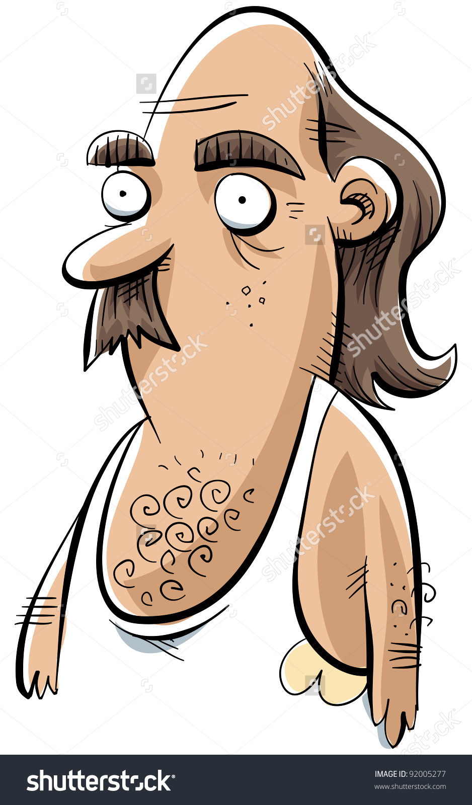 Cartoon Man White Undershirt Sweat Stains Stock Illustration.