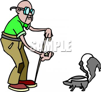 Cartoon of an Old Blind Man Trying to Feed a Skunk Mistaking it.