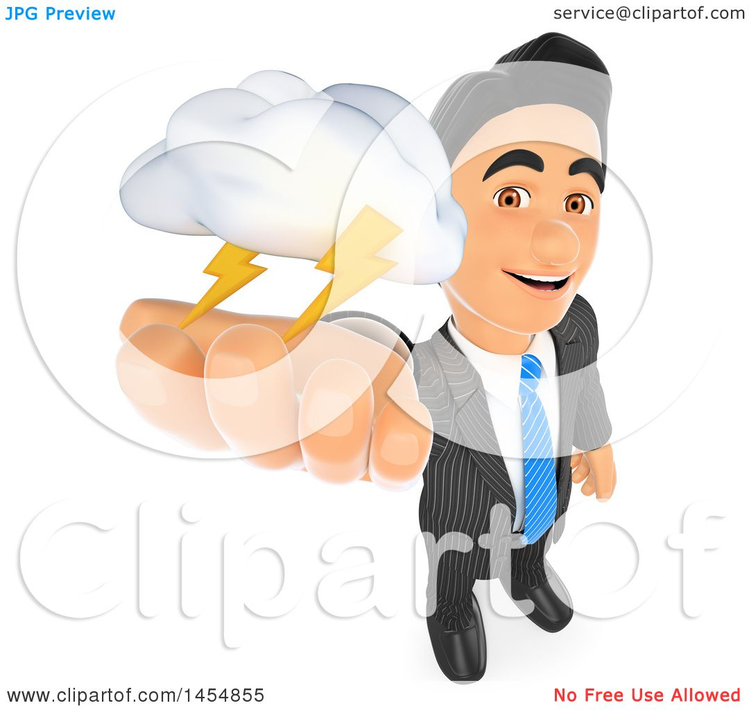 Clipart Graphic of a 3d Business Man Holding up a Lightning Storm.