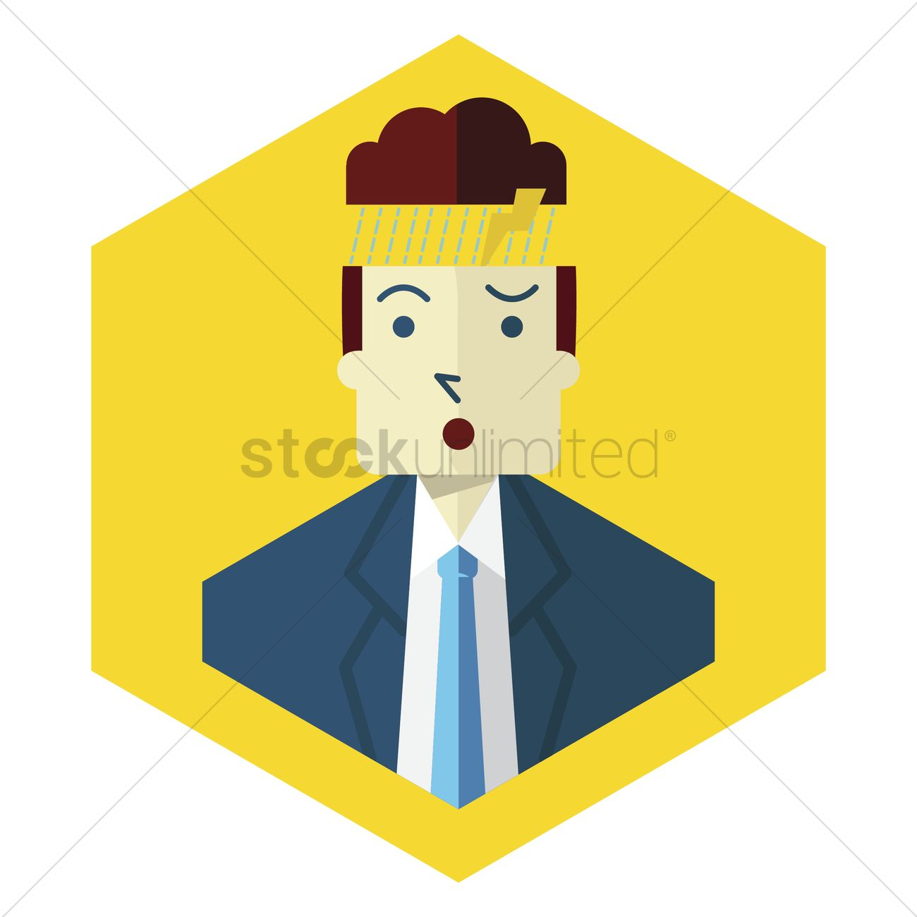 A man's head with a storm cloud Vector Image.