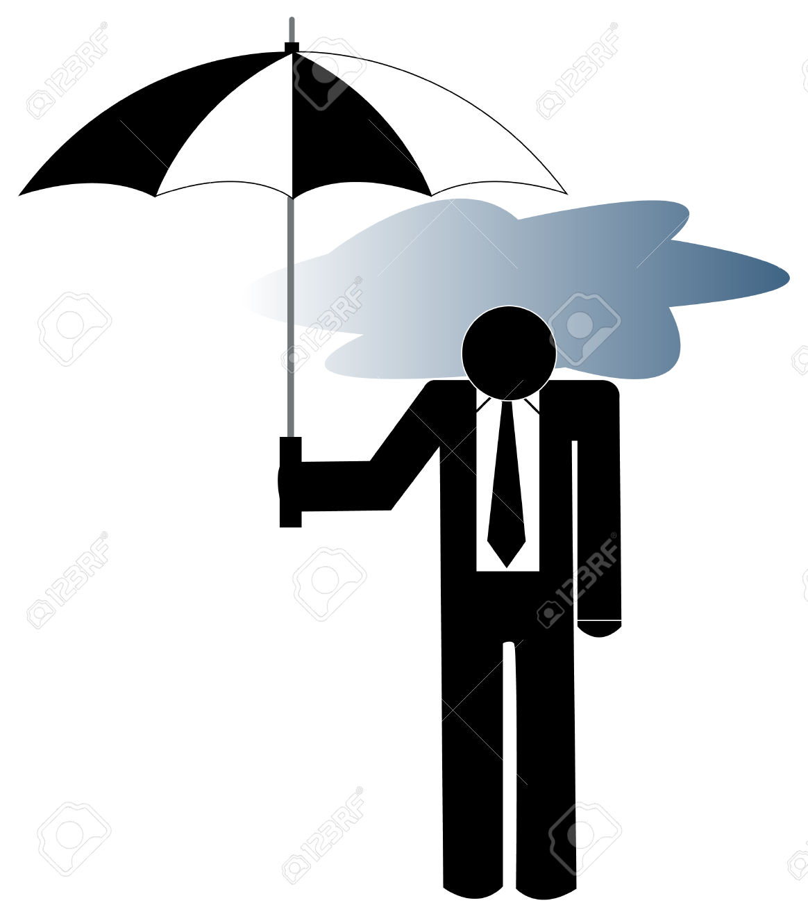Man With Storm Clouds Clipart.