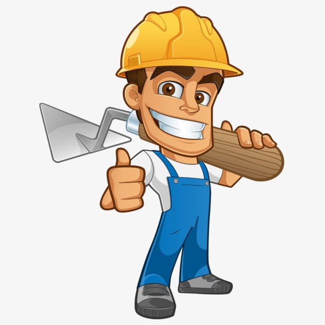 A man carrying tools PNG clipart.