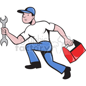 mechanic running with tools clipart. Royalty.
