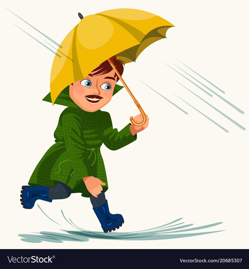 Man walking rain with umbrella hands raindrops.