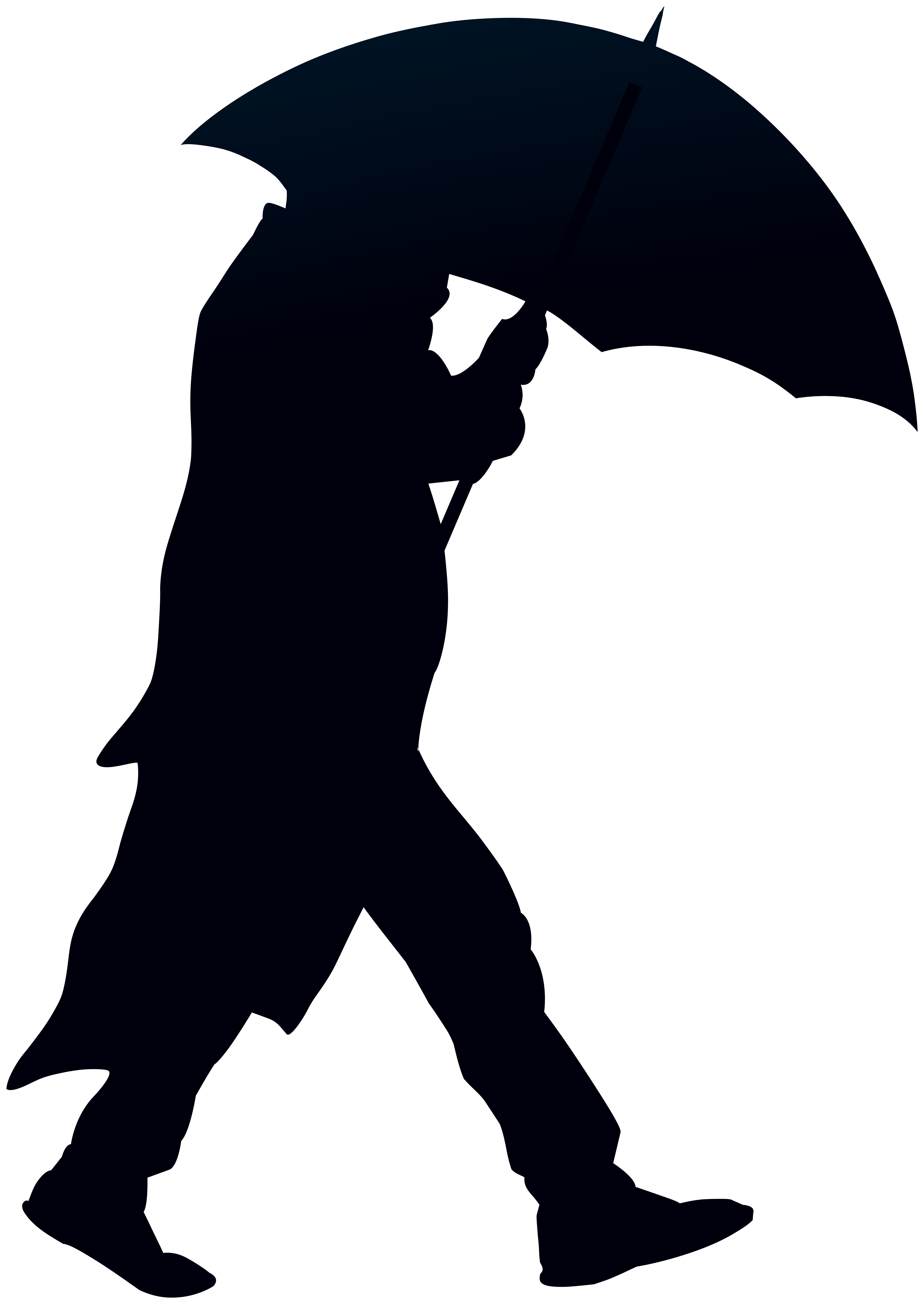 Man with Umbrella Silhouette PNG Clip Art.