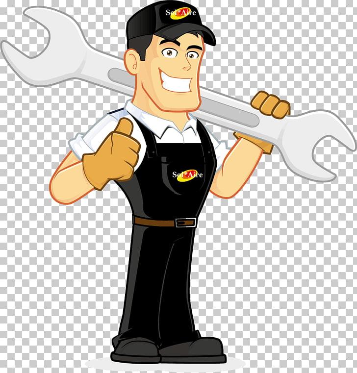 Mechanic Cartoon , plumber, man holding oversized open.