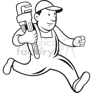 black and white plumber monkey wrench running 001 clipart. Royalty.