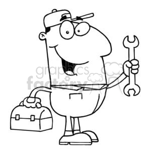A repair man with a toolbox and a wrench clipart. Royalty.
