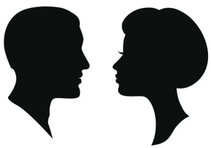 creative man and woman silhouettes vector set.