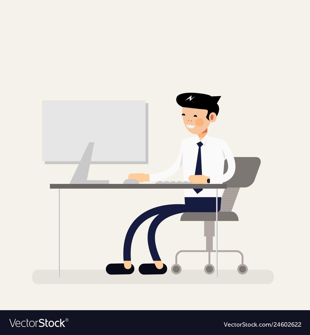 Cool business man working on desktop computer.