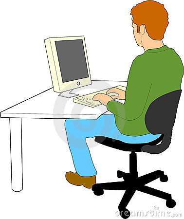 Man Working On Computer Clipart.