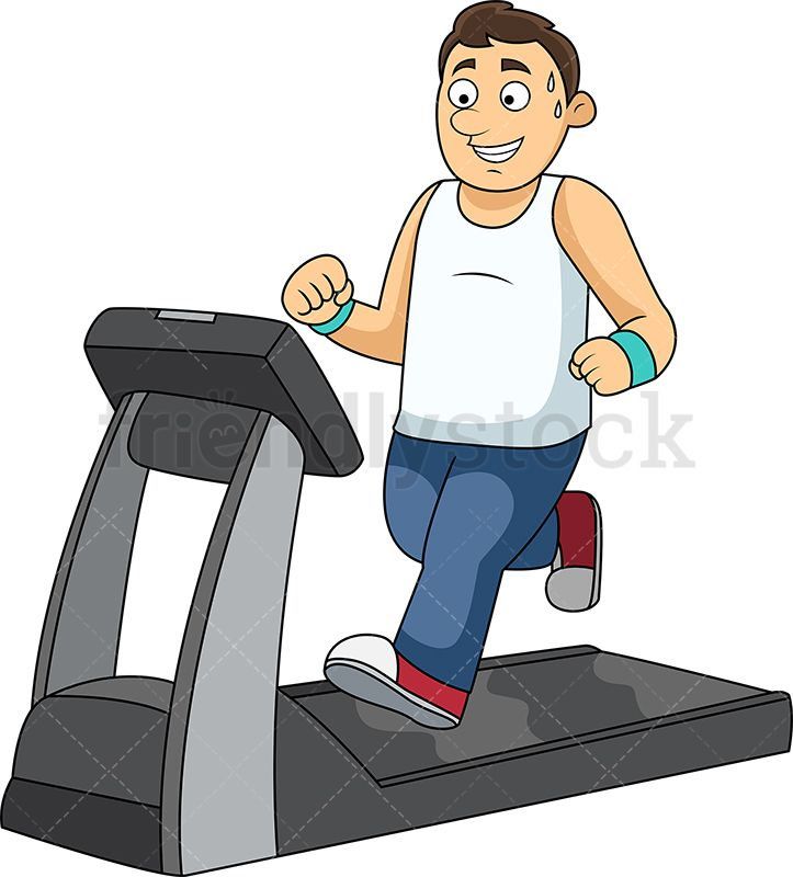 Slim Man Working Out On Treadmill in 2019.